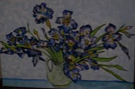 blue irises painting van gogh irises in a jug by iris devadason