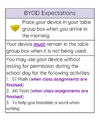 Bilingual Bring Your Own Device Expectations Anchor Chart Tpt