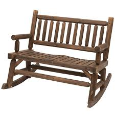 outsunny 2 seater rocking bench wood