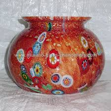 pablo murano glass vase standard red and polychrome