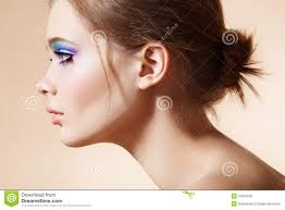 beautiful profile face with bright fashion make up