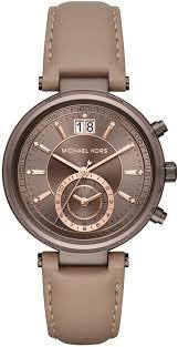 women s michael kors sawyer chronograph leather watch mk2629 loading zoom