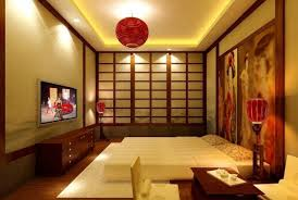 japanese style lighting. Red Lighting And Interesting Paintings Closed Double Bed On White Carpet Wooden Floor Inside Japanese Interior Style