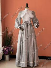 Victorian Maid Gold Rush <b>Striped Vintage</b> Dickens Caroler <b>Dress</b> ...