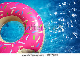 Hipster Sprinkled Donut Float Sunny Pool Stock Photo Image