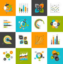 Different Types Of Business Charts And Infographs Icons Set Isolated