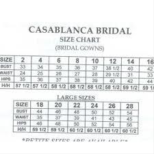Casablanca Wedding Dress Size Chart Wedding Dresses