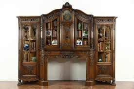 carved oak antique architectural salvage fireplace mantel clock bookcase