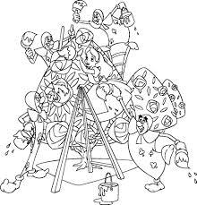Disegno Di Alice E Le Carte Da Gioco Da Colorare Per Bambini