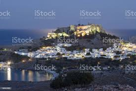 Lindos With Its Ancient Acropolis At Dawn Rhodes Greece Stock Photo -  Download Image Now - iStock