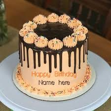 Orange Flavor Cream Birthday Cake For Mother With Name