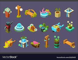 Video Game Garden Design Collection Of Elements Vector Image Amazing Garden Design Games Collection