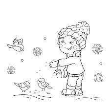 Kleurplaat Winter Vogels