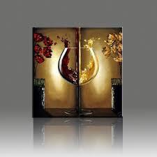 wine glass hand painted oil painting flower landscape canvas 2 pcs wall art decoration pieces