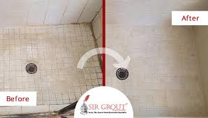 before and after picture of a grout cleaning in frisco texas