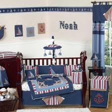 inspiring baby boy rooms with sailor blue and white pattern baby bedding sets as decorate baby boys nursery designs