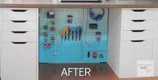 AFTER: under desk cords are hidden and organized :: OrganizingMadeFun.com