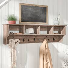Shelf And Coat Rack Laurel Foundry Modern Farmhouse Manzanola 100 Drifted Gray Wall 2