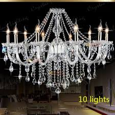 crystal chandelier 10 lights arms candle pendant lamp with lampshade