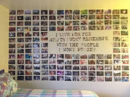 photo collage on wall without frames