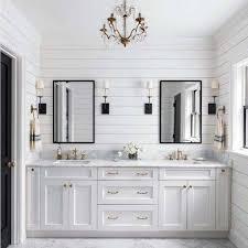 shiplap master bathroom with white double vanity