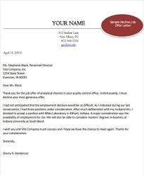 Thank You Letter After Offer Impressive Job Offer Rejection Letter Examples Standart Thus Keyhome