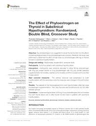 Pdf The Effect Of Phytoestrogen On Thyroid In Subclinical