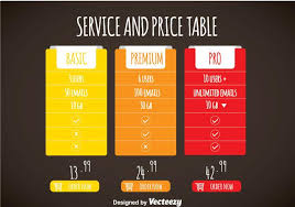Pricing Template Simple Colorful Pricing Table Template Vector Download Free Vector