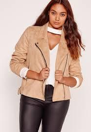 missguided plus size bonded faux suede biker jacket camel
