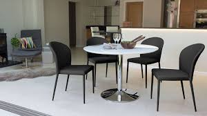 round modern white gloss dining table stylish trumpet pedestal base photo of round white gloss dining