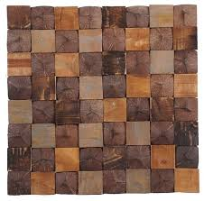15 75 x15 75 aztec patchwork teak wall tiles set of 6 contemporary wall and floor tile by ecotessa