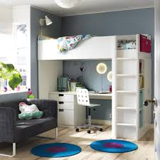loft room furniture. a room with white loft bed combination that includes desk chest of drawers furniture t