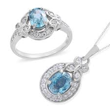 cambodian blue zircon white zircon platinum over sterling silver ring size 8 and pendant with chain 18 in tgw 4 96 cts lc