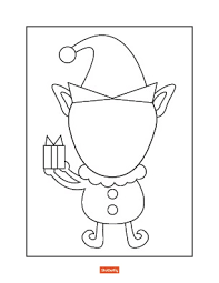blank christmas coloring page.  Page Elf Throughout Blank Christmas Coloring Page S