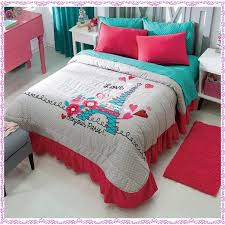 new girls gray aqua blue pink paris bedspread bedding set