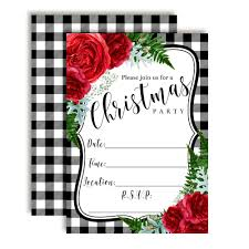 Christmas Holiday Invitations Watercolor Red Floral Christmas Party Invitations