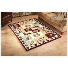 hunting area rugs bear fish deer area rug wildlife themed carpet patchwork hunting pattern canoes pine