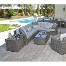 outdoor furniture colors. this patio sectional features a beautiful heather gray wicker color with 200 custom order cushion outdoor furniture colors