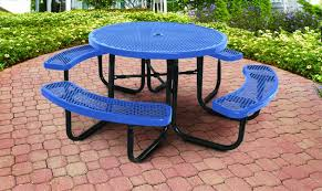 blue supersaver commercial round picnic tables
