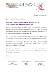The Best Thank You Letters Thank You Letter To Meps Who Supported The Written Declaration 26 2011