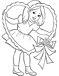 Cute Little Girl And Valentine Heart Coloring Page Girls Coloring