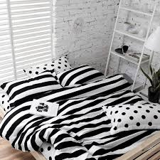 soft cotton polka dot and stripe bedding sets white black 4 pieces bedlinens twin queen king