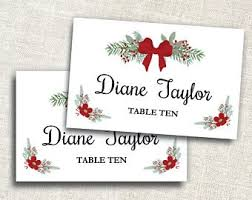 Holiday Placecards Holiday Place Card Etsy