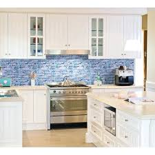glass tile backsplash black and white grey marble stone blue mosaic tiles kitchen wall