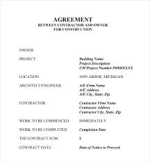 Project Contract Templates Building Construction Agreement Forms Gallery Letter Format Contract ...