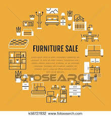 Furniture sale banner Bedroom Furniture Clipart Furniture Sale Banner Illustration With Flat Line Icons Living Room Bedroom Walmart Clipart Of Furniture Sale Banner Illustration With Flat Line Icons