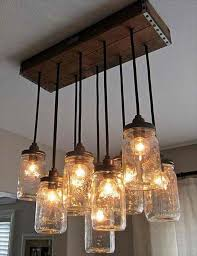 fun lighting over bar or tables in restaurant diy mason jar chandelier