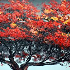 red tree for relax art painting