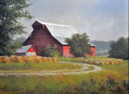 red barn with hay bales oil on canvas 18 x24