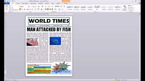 Newspaper Layout On Word Word 2010 Newspaper Project Autoshape